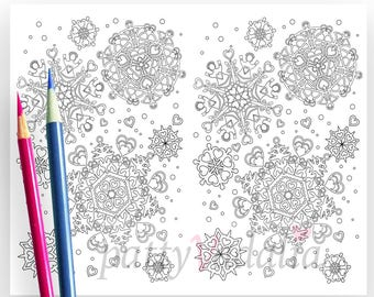 Snowflake Hearts Valentines. Valentines Day Coloring Page. 2 on 1 Coloring Page. Coloring Cards for Kids and Adults.  Instant Download.