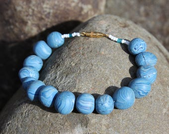 blue bracelet with handmade beads