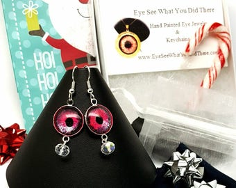 PINK Glow in the Dark Evil Eye Earrings\ Pink Evil Eye\ Pink Earrings\ UV Reactive Jewelry\ Gift Idea for Her\ Hand Painted Evil Eye\ Trendy