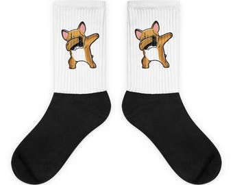 Funny Dabbing Fawn French Bulldog Socks, Cute French Bulldog Gift, Frenchie Dog Dab Dance Print