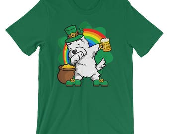 Funny Dabbing Leprechaun Westie T-Shirt, St Patricks Day Shirt