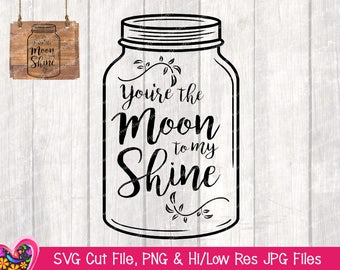 You're the Moon to My Shine | SVG Cricut & Silhouette Cut Files | Hi/Low Res Clipart for Print and Web **Instant Download**