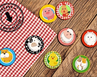 Farm Cupcake toppers, Tag, animals, Birthday party decorations, animali, fattoria INSTANT DOWNLOAD -