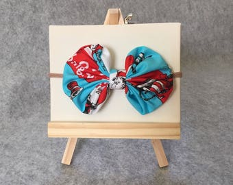 Dr. Seuss The Cat in the Hat Baby Headband 100% Cotton Licensed Fabric Bubble Bow Thing 1 Thing 2