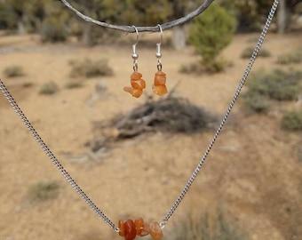 Orange Aventurine Necklace and Earrings Set