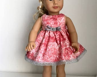 """18"""" doll handmade coral-grey dress fits dolls like American Girl and Our Generation"""