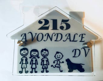 House shaped, Door number, address plate and bespoke characters, home names included, house number plate, will wow visitors and friends