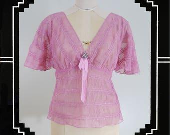 Karen Kane Pink Netted Flutter Sleeve Blouse  FREE SHIPPING