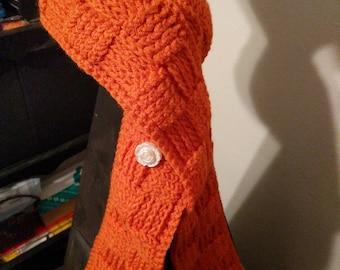 Orange crochet basket weave scarf