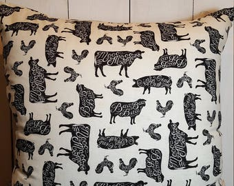 Farmhouse Pillow covers, Handmade Pillow Covers, Cows, Farm Pillow, Throw Pillows, Farm animals, Black and Cream, 20x20 Pillow cover