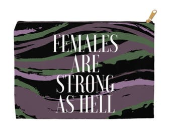Females are Strong as Hell - Accessory Pouches - Feminist Bags