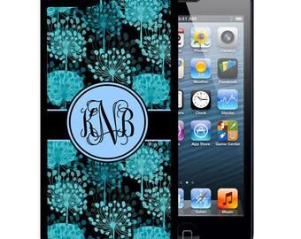 Monogrammed Rubber Case For iPhone X, 8, 8 plus, 7, 7 plus, 6s, 6s plus, 5, 5s, 5c, SE - Blue Black Flower