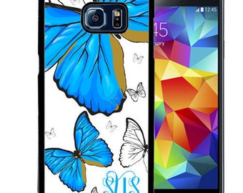 Monogrammed Rubber Case For Samsung Note 3, Note 4, Note 5, or Note 8 - White Blue Butterfly