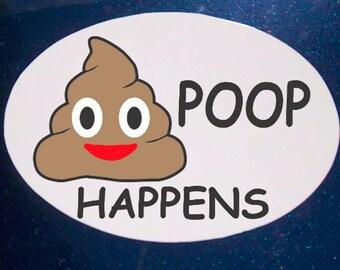 Poop Happens Car Magnet, Emoji Magnet, Oval Car Magnet, Poop Emoji Car Magnet