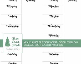 Meal Planner Printable TN Insert - Standard Size