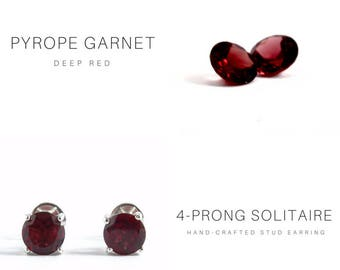 6MM NATURAL PYROPE GARNET Solitaire Stud Earring