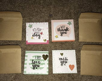 Set of 4 All Occasion Cards with Envelopes Blank Inside