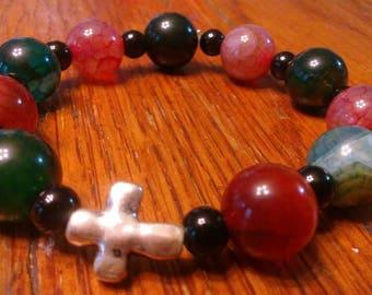 Glass Bead Bracelet, Rosary Bracelet, Stretch Fashion Bracelet, Christian Bracelet