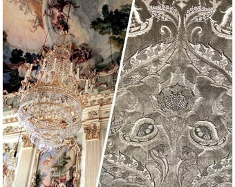 Made in Italy Novelty Brocade Damask Cut Out Velvet Fabric - Upholstery- Sold By The Yard
