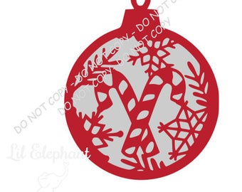 Candy Cane Christmas Tag SVG