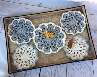 Coaster Crochet Set 5 Coasters Tea Drink Home Kitchen Decor Vintage Handmade Gift