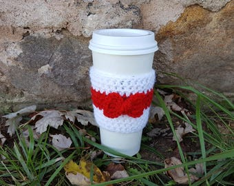 Bow Red and White Crochet Coffee Cup Cozy, Coffee Cozy, Coffee Sleeve, Present, Unique Gift, Cozies, Crochet Cozy, Bow Cozy, Hot Coffee Tea