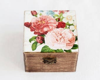 Jewelry Box With Pink Flowers, Trinket Box, Keepsake Box, Wooden Jewelry Box, Jewelry Box Storage Box Rustic Home Decor, Valentines Day Gift