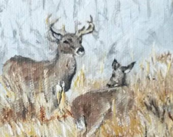 Doe and Stag. Greeting card from original painting of Deer by Jodeen Betton.