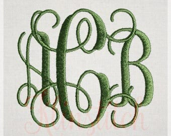 50% Sale!! Vine Monogram Embroidery Fonts 4 Sizes Three Letters Monogram Fonts BX Fonts Embroidery Designs PES Alphabets - Instant Download
