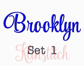 50% Sale!! Set 1 Brooklyn Embroidery Fonts 5 Sizes Fonts BX Fonts Embroidery Designs PES Fonts Alphabets - Instant Download