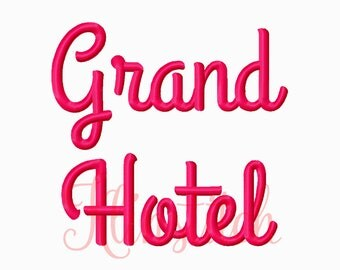 50% Sale!! Grand Hotel Embroidery Fonts 5 Sizes Fonts BX Fonts Embroidery Designs PES Fonts Alphabets - Instant Download