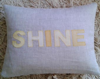 Organic Linen Cushion Silk Applique SHINE