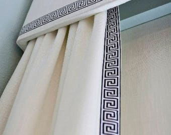 Superior Greek Key Trim Curtains And Cornice Custom QUICK SHIP Fabric Custom Length  And Width Designer Trimmed