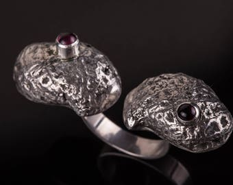One of a kind ring - Contemporary ring - Sterling silver ring - Garnet ring