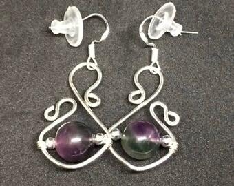Rainbow Fluorite & Sterling Silver Earrings