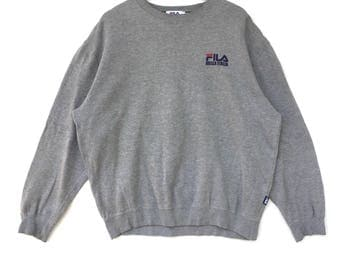 Fila Sweatshirt Silver colour Big Logo Embroidery Sweat Medium Size Jumper Pullover Jacket Sweater Shirt Vintage 90's