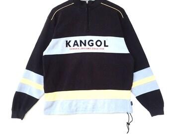 Kangol Sweatshirt Multicolour Big Logo Embroidery Sweat Medium Size Jumper Pullover Jacket Sweater Shirt Vintage 90's