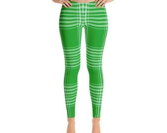 Green Plaid Leggings - Womens Leggings - Workout Leggings - Yoga Leggings - Plaid Leggings