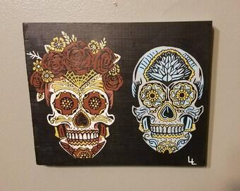 Hand painted sugar skull couple