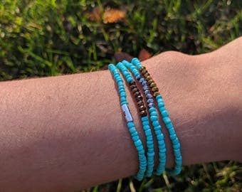Turquoise Metallic Accented Stacking Stretch Bracelet