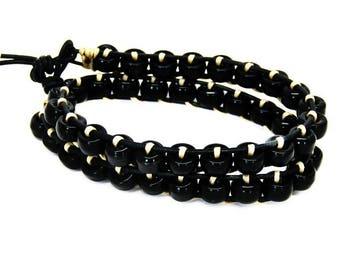 Boho wrap bracelet- Wrap bracelet- Boho bracelet- Leather wrap- Leather bracelet- Beaded wrap bracelet- Beaded bracelet- Bohemian bracelet