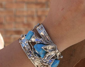 Alpaca Silver Bracelet with Turquoise