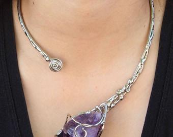Alpaca Silver Necklace with Amethyst