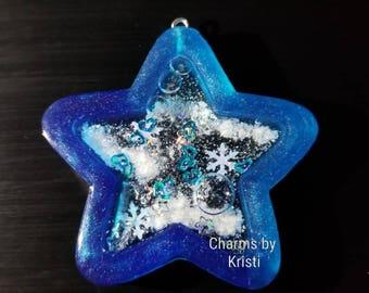 Blue Star Resin Shaker Charm