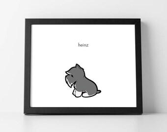 Personalized Cute Grey and White Schnauzer Puppy Art Print