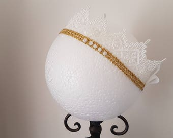 Adella: Crown Lace Headband _____ baby girl headand, white and gold headband, baby crown headband