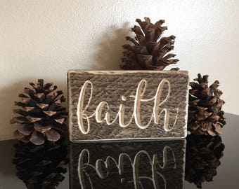 Faith - beautifully carved wood decor with rustic finish