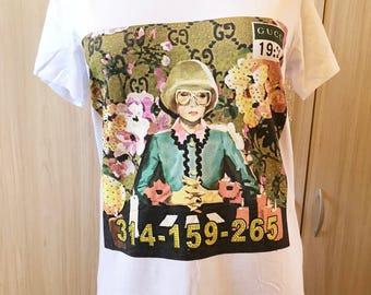 Inspired luxury Designer Women T shirt Monreal print Short Sleeve