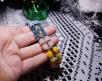 """Lovely Antique Silver Plated Tibetan and Rhinestone accented Chakra bracelet, Filigree, with 8 Chakra Healing Gemstones, 8.5"""" Length"""