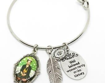 Frida Kahlo Bangle, Well Behaved Women Rarely Make History Charm Bracelet
